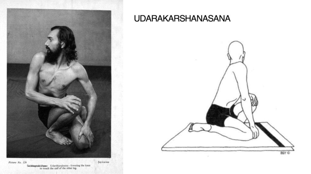 Dhirendra in Udarākarṣāsana. Yogic Suksma Vyayama 1965: picture 129. Udarākarṣāsana. Asana Pranayama Mudra Bandha 1968: 72.